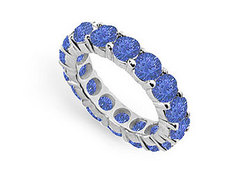 Blue Sapphire Eternity Band : 14K White Gold – 5.00 CT TGW