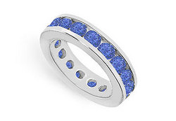 Blue Sapphire Eternity Band : 14K White Gold – 4.00 CT TGW