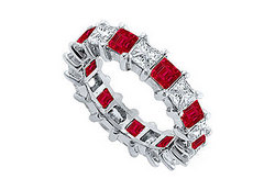 Diamond and Ruby Eternity Band : 14K White Gold  – 2.00 CT TGW