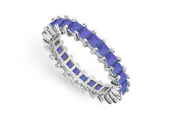Blue Sapphire Eternity Band : 14K White Gold – 3.00 CT TGW