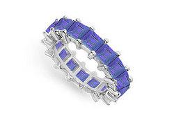 Blue Sapphire Eternity Band : 14K White Gold – 5.00 CT TGW