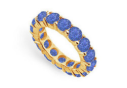 Blue Sapphire Eternity Band : 14K Yellow Gold – 5.00 CT TGW