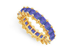 Blue Sapphire Eternity Band : 14K Yellow Gold – 4.00 CT TGW
