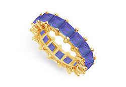 Blue Sapphire Eternity Band : 14K Yellow Gold – 5.00 CT TGW