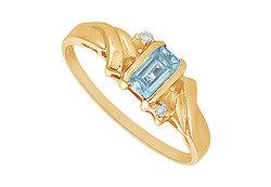 Aquamarine and Diamond Ring : 14K Yellow Gold - 1.00 CT TGW