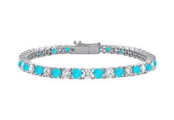 Blue Topaz and Cubic Zirconia Prong Set 10K White Gold Tennis Bracelet 5.00 CT TGW