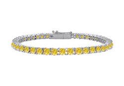 14K White Gold : Yellow Sapphire Prong-Set 4.00 CT TGW Tennis Bracelet
