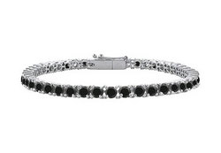Black Diamond Prong-Set Tennis Bracelet : 14K White Gold – 4.00 CT Diamonds
