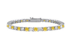 14K White Gold : Yellow Sapphire and Cubic Zirconia Prong-Set Tennis Bracelet 5.00 CT TGW