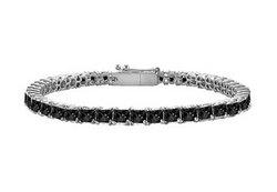 Black Diamond Princess-Cut Tennis Bracelet : 14K White Gold – 2.00 CT Diamonds