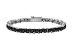 Black Diamond Princess-Cut Tennis Bracelet : 14K White Gold – 4.00 CT Diamonds