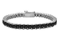 Black Diamond Princess-Cut Tennis Bracelet : 14K White Gold – 7.00 CT Diamonds