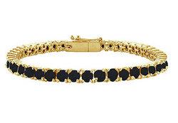 Black Diamond Prong-Set Tennis Bracelet : 14K Yellow Gold – 10.00 CT Diamonds