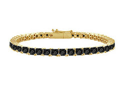 Black Diamond Princess-Cut Tennis Bracelet : 14K Yellow Gold – 2.00 CT Diamonds