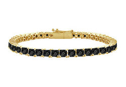 Black Diamond Princess-Cut Tennis Bracelet : 14K Yellow Gold – 4.00 CT Diamonds