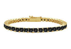 Black Diamond Princess-Cut Tennis Bracelet : 14K Yellow Gold – 5.00 CT Diamonds