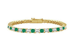 18K Yellow Gold : Princess Cut Emerald & Diamond Tennis Bracelet 4.00 CT TGW