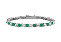Emerald & Diamond Princess Cut Platinum Tennis Bracelet 4.00 CT TGW