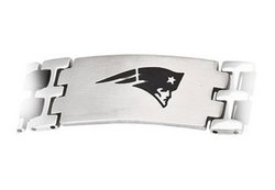 Stainless Steel and Rubber New England Patriots Team Logo Bracelet - 8 Inch