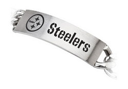 Stainless Steel Pittsburgh Steelers Team Name and Logo ID Bracelet - 8 Inch