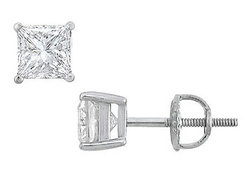 14K White Gold : Princess Cut Diamond Stud Earrings – 1.50 CT. TW.