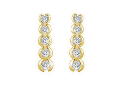 Diamond Journey Earrings : 14K Yellow Gold - 1.00 CT Diamonds