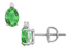 Diamond and Emerald Stud Earrings : 14K White Gold - 2.04 CT TGW