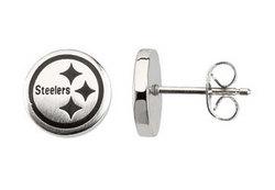 Stainless Steel Pittsburgh Steelers Logo Stud Earrings - 10.00MM X 10.00MM