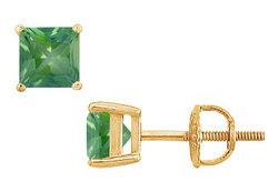 Emerald Stud Earrings : 14K Yellow Gold - 2.00 CT TGW