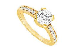 Diamond Engagement Ring : 14K Yellow Gold - 0.66 CT Diamonds