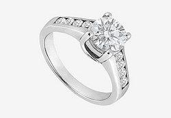 1 carat Center Diamond Engagement Ring in 14K White Gold 1.40 Carat TDW