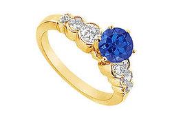 Sapphire and Diamond Engagement Ring : 14K Yellow Golld - 1.75 CT TGW