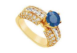 Sapphire and Diamond Engagement Ring : 14K Yellow Gold - 3.25 CT TGW