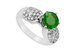 Emerald and Diamond Engagement Ring : 14K White Gold - 1.50 CT TGW