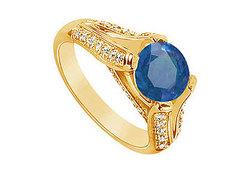 Sapphire and Diamond Engagement Ring : 14K Yellow Gold - 2.50 CT TGW