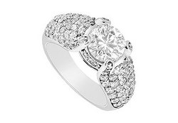 Diamond Engagement Ring : 18K White Gold - 2.00 CT Diamonds