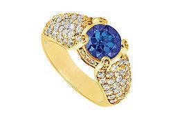 Sapphire and Diamond Engagement Ring : 14K Yellow Gold - 2.00 CT TGW