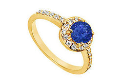 Sapphire and Diamond Engagement Ring : 14K Yellow Gold - 1.50 CT TGW
