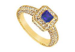 Sapphire and Diamond Engagement Ring : 14K Yellow Gold - 1.25 CT TGW