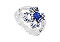Blue Sapphire Ring : 14K White Gold - 0.50 CT TGW