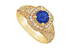 Sapphire and Diamond Engagement Ring : 14K Yellow Gold - 1.25 CT TGW