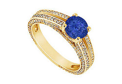 Sapphire and Diamond Engagement Ring : 14K Yellow Gold - 3.00 CT TGW