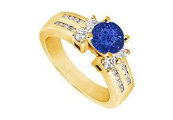Sapphire and Diamond Engagement Ring : 14K Yellow Gold - 1.75 CT TGW