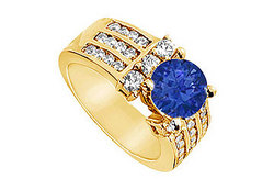 Sapphire and Diamond Engagement Ring : 14K Yellow Gold - 2.25 CT TGW