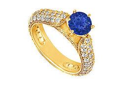 Sapphire and Diamond Engagement Ring : 14K Yellow Gold - 1.50 CT TGW