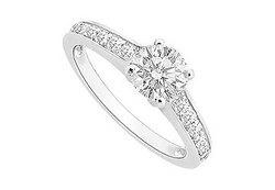 Diamond Engagement Ring : 14K White Gold - 0.75 CT Diamonds