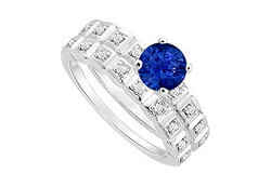 Sapphire and Diamond Engagement Ring with Wedding Band Set : 14K White Gold - 0.50 CT TGW