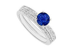 Sapphire and Diamond Engagement Ring with Wedding Band Set : 14K White Gold - 0.60 CT TG