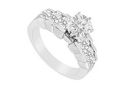 Diamond Engagement Ring : 14K White Gold - 1.00 CT Diamonds
