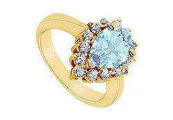 Aquamarine and Diamond Ring : 14K Yellow Gold - 1.29 CT TGW